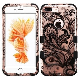 Insten Rose Gold/ Black Phoenix Flower Tuff Hard PC/ Silicone Dual Layer Hybrid Case Cover For Apple iPhone 7 Plus