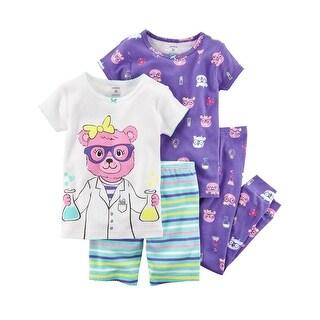 Carter's Girls' 4-Piece Snug Fit Cotton PJs, Purple Bear