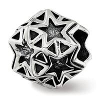 Sterling Silver Reflections Polished Antiqued Star Bead (4.5mm Diameter Hole)