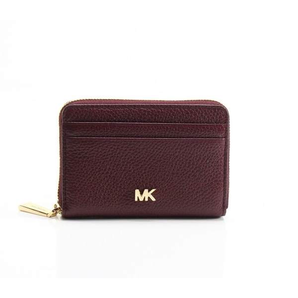 b4361e51df57 Shop Michael Kors Oxblood Red Pebble Leather Zip Around Coin Card ...