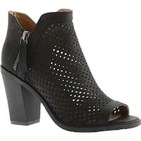 Portland Boot Company Women's Emma Perforated Peep Toe Bootie Black Nubuck Polyurethane