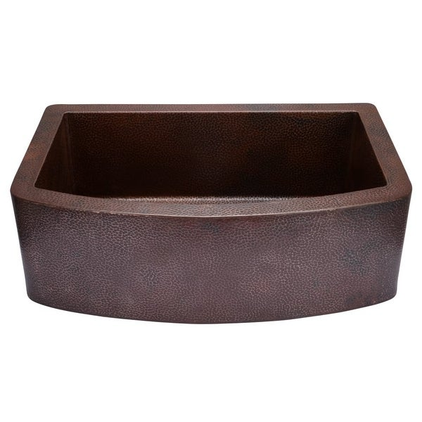 "Miseno MC3320F 33"" Single Basin 14-Gauge Hammered Copper Kitchen Sink for Farmhouse Installations - Matching Disposal Flange"