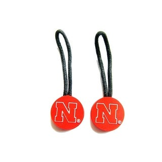 Nebraska Cornhuskers Zipper Pull Charm Tag Set Luggage Pet ID NCAA
