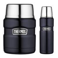 Thermos 16oz Food Jar (Midnight Blue) w/ Insulated 16oz Drink Bottle Bundle - Blue