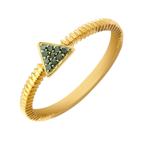 Prism Jewel 0.07Ct Round Green Diamond Triangle Shaped Fancy Ring