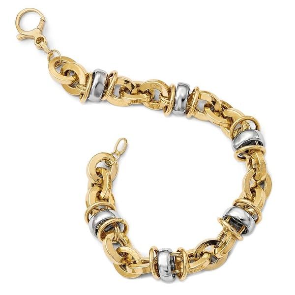 Italian 14k Two-Tone Gold Fancy Bracelet - 8 inches