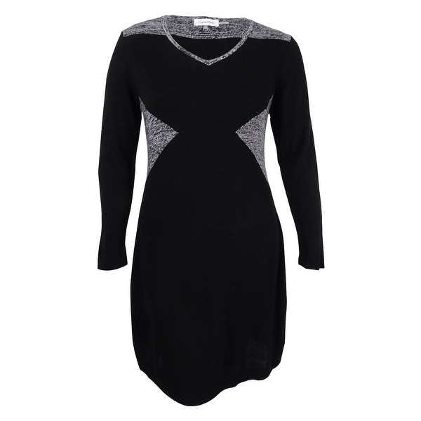 dbf62e665ecee Shop Calvin Klein Women s Plus Size Colorblock V-Neck Sweater Dress - Black  - 0X - Free Shipping Today - Overstock.com - 17019070