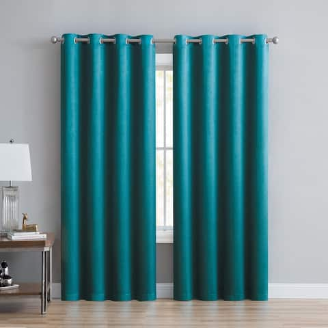 "Anette Room Darkening Shiny Window Curtain Panels 84"" or 90"" (Single, 2-Pack or 4-Pack)"