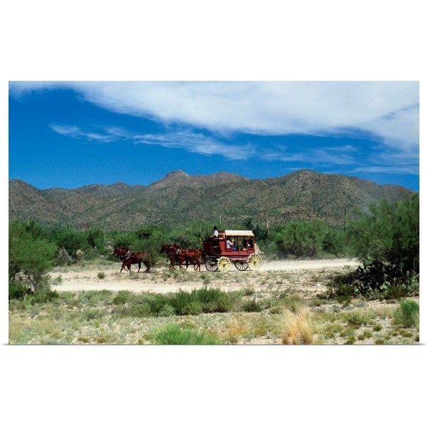 """""""Old fashioned stagecoach pulled by horses, Old Tucson, Arizona"""" Poster Print"""