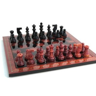 Scali NS155RB Alabaster Chess Set - 15 in. Inlaid Wood Frame