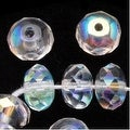 Czech Fire Polished Glass Beads 7 x 5mm Rondelle Crystal AB (25) - Thumbnail 0