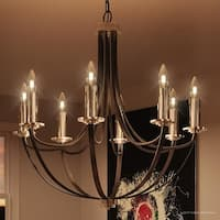 "Luxury Mid-Century Modern Chandelier, 30""H x 30""W, with Colonial Style, Silver Trimmed Design, Black Silk Finish"