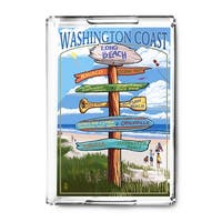 Long Beach, WA - Destinations Sign - LP Artwork (Acrylic Serving Tray)