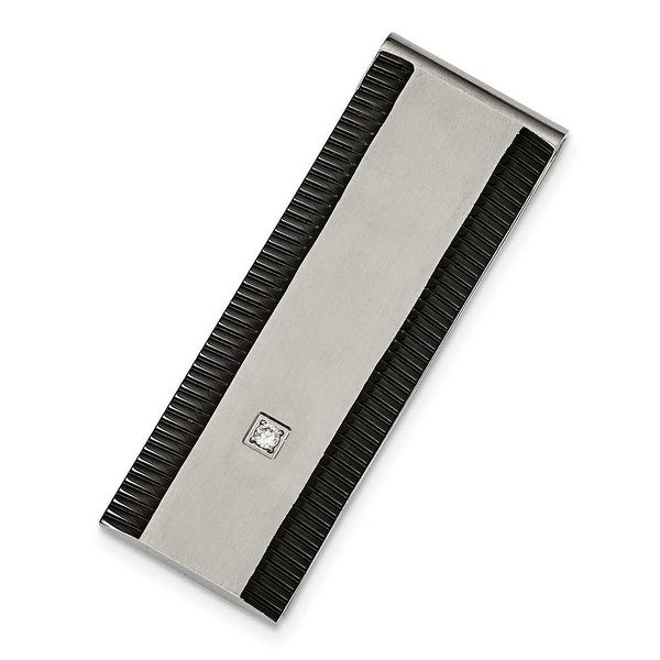 Chisel Stainless Steel Black IP CZ Polished Money Clip