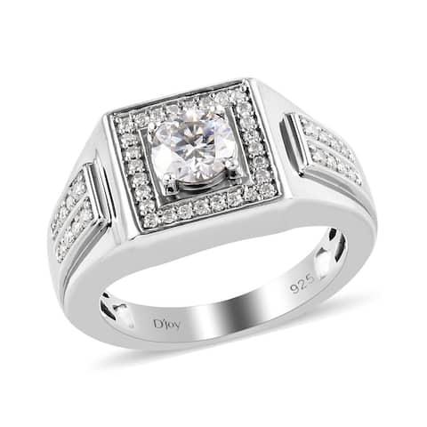 Platinum Over 925 Sterling Silver Moissanite Bridal Ring Men Ct 1