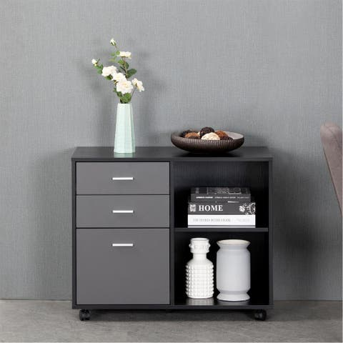 3-Drawer Wood File Cabinet, Mobile Lateral Filing Cabinet, Open Storage Shelves for Home Office, Black Oak & Dark Grey
