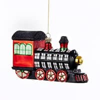 "3"" Black, Green and Red Checkered Train Glittered Christmas Ornament"