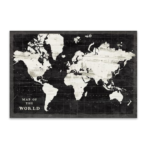 Black And White Maps Rustic Metal Wall Art Print