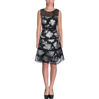 Kay Unger Womens Special Occasion Dress Metallic Illusion - 8
