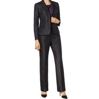 Le Suit NEW Black Novelty Striped Women's Size 10 Pant Suit Set