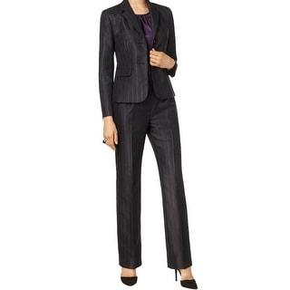 Le Suit NEW Black Women's Size 8 Stripe Notch Collar Pant Suit Set