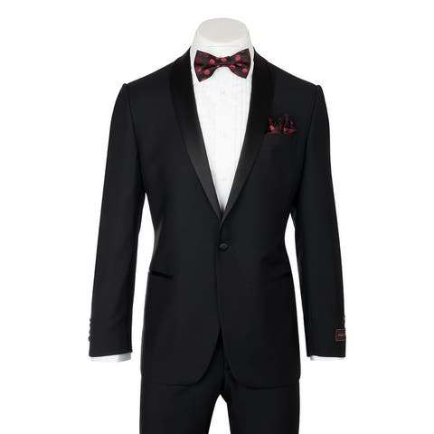 Beckham, Modern Fit, Black, Pure Wool Tuxedo by Tiglio Luxe TIG1001