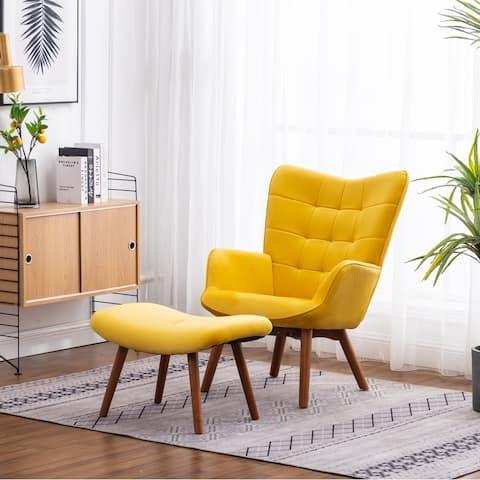 Carson Carrington Aasen Contemporary Silky Velvet Tufted Accent Chair with Ottoman