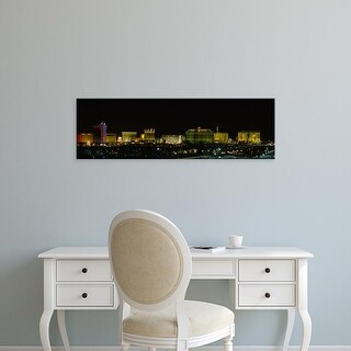 Easy Art Prints Panoramic Images's 'Buildings lit up at night in a city, Las Vegas, Nevada, USA' Premium Canvas Art