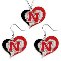 Nebraska Cornhuskers Swirl Heart Dangle  Earring and Necklace Set NCAA Charm Gift
