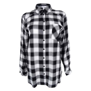 Kensie Women's Plaid Long Sleeve Shirt
