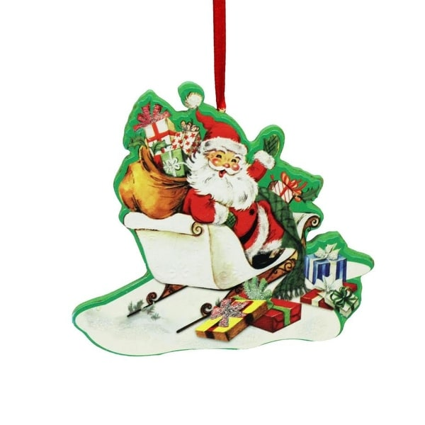 """4"""" Decorative Retro Santa in Sleigh with Toys Wooden Christmas Ornament - green"""