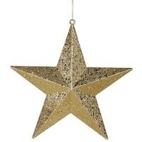 Vegas Gold Matte & Glitter Shatterproof Star Christmas Ornament
