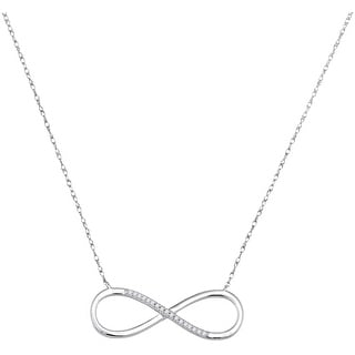 Infinty Pendant Necklace 10K White-gold With Diamonds 0.1 Ctw By MidwestJewellery - White