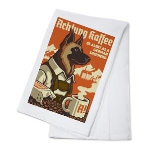 German Shepherd - Retro Coffee Ad - Lantern Press Artwork (100% Cotton Towel Absorbent)