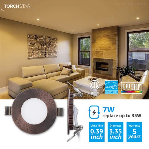 7W 3 Inch Ultra-Thin LED Recessed Light with J-Box, Dimmable, Oil Rubbed Bronze, 3000K Warm White, Pack of 6