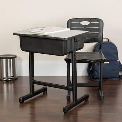 """Pedestal Frame Adjustable Height Student Desk and Chair - 23.63""""W x 17.75""""D x 28.25"""" - 31.50""""H"""