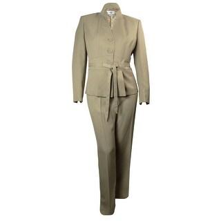 Le Suit Women's Napa Valley Belted Pant Suit - Khaki - 18