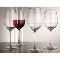 Palais Haut De Gamme Wine & Beverage Glass Collection - Set of 4 (Square Cut Stemmed, 15 Ounce)