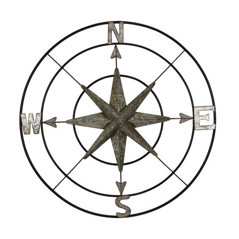 "Brewster WA9773A Habitat Cypress 31-1/2"" Compass Iron Wall Sculpture"
