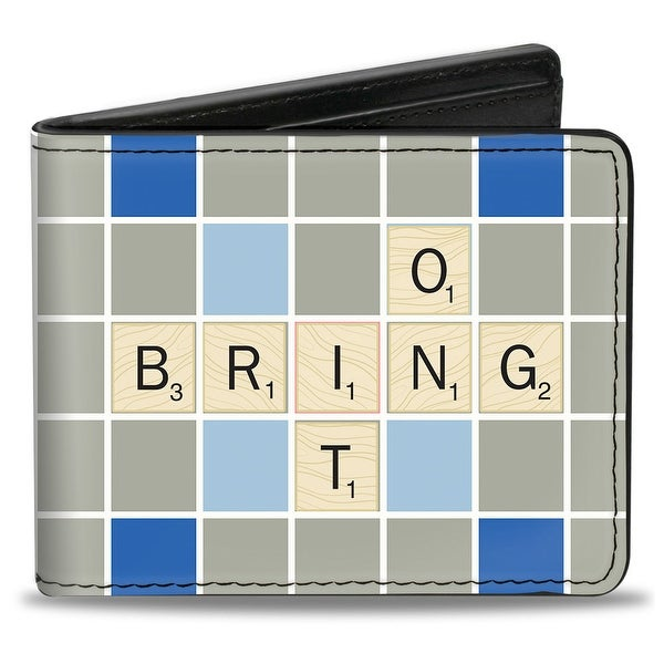 Scrabble Bring It On Squares Grays Blues Red White Bi Fold Wallet - One Size Fits most