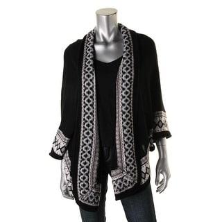 Aqua Womens Wool Shawl Cape Sweater - S