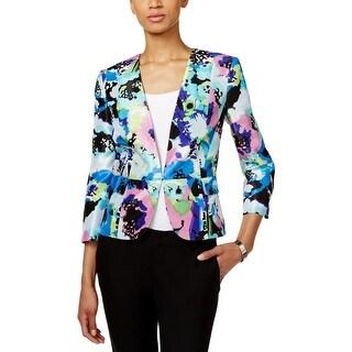 Kasper Womens Open-Front Blazer Printed Collarless