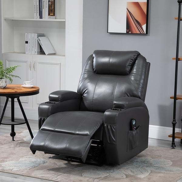 HOMCOM Electric Power Reclining Massage Sofa PU leather w/ 8-Point Vibration Waist Heating Side Storage USB Port, Dark Grey. Opens flyout.