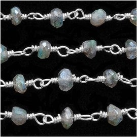 Labradorite Gemstone Sterling Silver Wire Wrapped Chain 3.5mm Rondelles - By Inch