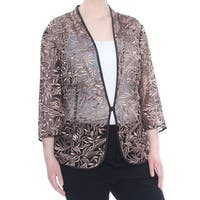 ALEX EVENINGS Womens Brown Embroidered Sheer Jacket Plus  Size: 3X