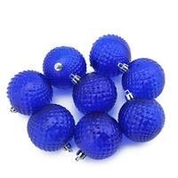 "8ct Lavish Blue Transparent Diamond Cut Shatterproof Christmas Ball Ornaments 2.5"""