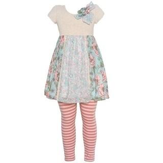 Bonnie Jean Little Girls Aqua Coral Floral Tunic Stripe 2 Pc Legging Set