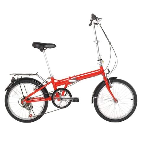 "20"" Lightweight Aluminum Folding Bike Foldable Bicycle, Rack and Fenders"