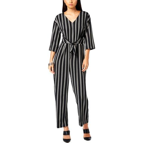 NY Collection Womens Petites Jumpsuit Tie Front Culotte