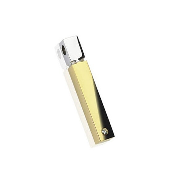 Stainless Steel Plated Gold Square Cylinder Pendant (8 mm Width)